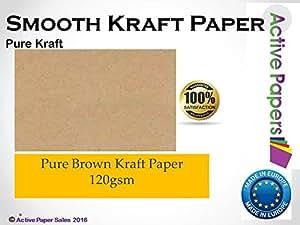 Papier Kraft 120 g A3 Lot de 100 feuilles de Papier écru/marron