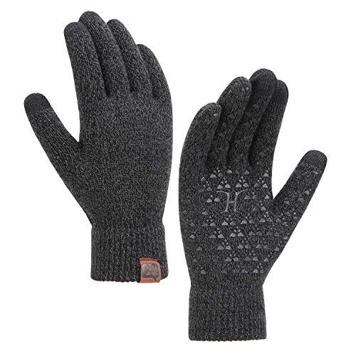 guanti antiscivolo Bequemer Laden Guanti Antiscivolo Touch Screen in Maglia Invernale Guanti Unisex con Fodera in Lana Termica per Uomo Donne