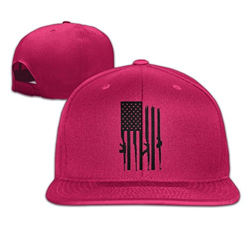 American Gun Flag Unisex Causal Fitted Flat Bill Boarder Cap For Men and Women Red (T-shirt Fitted American Flag)