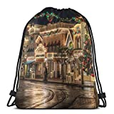 Etryrt Zaino con Coulisse,Borse Sacca,Sacchetto Christmas Street Drawstring Backpack Bag Shoulder Bags Gym Bag for Adult