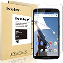 Nexus 6 Protector de Pantalla Cristal, iVoler®  Film Protector de Pantalla de Vidrio Templado  para Motorola Google Nexus 6 - Dureza de Grado 9H, Espesor 0,20 mm, 2.5D Round Edge-[Ultra-trasparente] [Anti-golpe] [Ajuste Perfecto] [No hay Burbujas]- Garantía Incondicional de 18 Meses