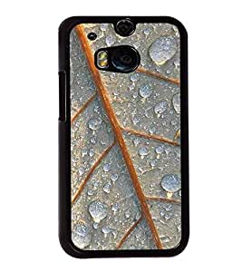 Fuson Premium 2D Back Case Cover Dew drops on leaf With White Background Degined For HTC One M8::HTC M8