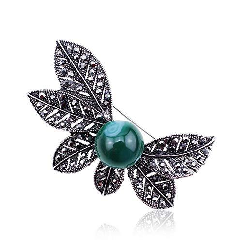 QWERTY Vintage Baum Blatt Brosche Sicherheitsnadeln Naturstein Grüne Perlen Broches für Frauen Antike Silberne Schmuck Geschenk