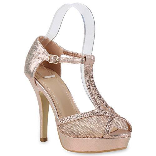 Damen Plateau Sandaletten | Strass High Heels | Metallic Sandalen Stiletto | Abendschuhe Spitze Rose Gold Schnalle