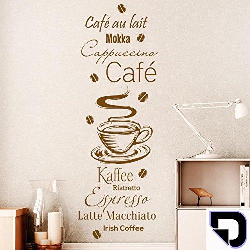 DESIGNSCAPE Wandtattoo Kaffee Spezialitäten mit Kaffeebohnen: Café au lait, Mokka, Cappuccino,...