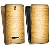 Sony Xperia E Tasche Hülle Flip Case Metall Look Gold Metal
