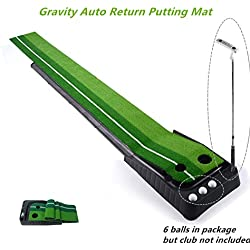 """Locisne Entraînement Putter Tige Poussoir Set retour Golf d'intérieur automatique Hazard Mat Putt,Mini Entraînement Golf formateur Putting Green avec Return Plateau-11.81 """"*118.11""""+6 balles de golf"""