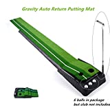 Locisne Entraînement Putter Tige Poussoir Set de retour Golf d'intérieur automatique Hazard Mat Putt, Professional Mini Entraînement Portable Golf formateur Putting Green avec Return Plateau-11.81'* 118.11' +6 balles de golf