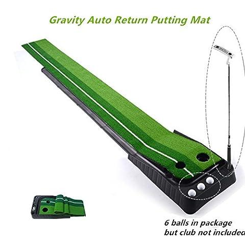 Locisne Entraînement Putter Tige Poussoir Set de retour Golf d'intérieur automatique Hazard Mat Putt, Professional Mini Entraînement Portable Golf formateur Putting Green avec Return Plateau-11.81