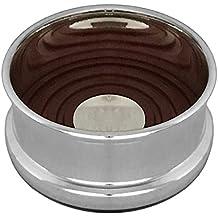 Sottobottiglia supporto bottiglie con inserto in legno diam 10cm placcato argento placcato argento