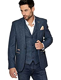 b2bb373356c3 Marc Darcy Mens Designer Slim Fit Casual One Button Single Breasted Blue  Herringbone Tweed Inspired Blazer