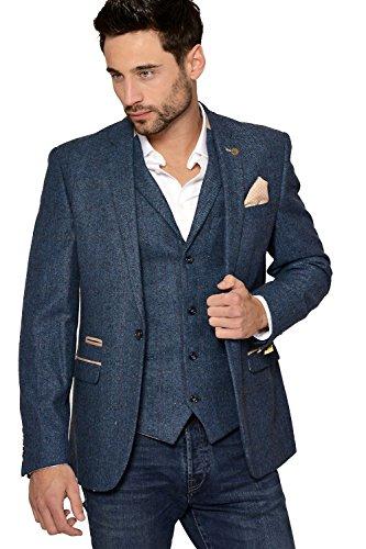 Herren Marc Darcy Entwerfer Blau Vintage Tweed mit Fischgratmuster Uberprufen Sakko Blazer Gr. 60 Regulär, blau -