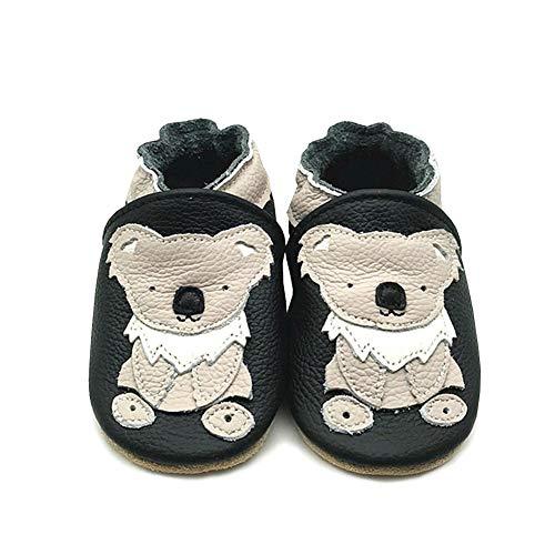 LPATTERN Unisex-Baby Neugeborene Jungen/Mädchen Weicher Leder Lauflernschuhe Krabbelschuhe Babyschuhe Hausschuhe, Beige Koala auf Schwarz, 6-12 Monate - Baby-schuhe Koala Für Mädchen