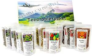 """Tee Probierpaket """" Einmal um die Welt """" im edlen Geschenkpaket 12 x 25 g"""