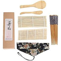 BESTONZON 7Pcs Kit per la preparazione di sushi Macchina per sushi con tappetino, piatti Nigiri, cucchiaio di riso, bastoncini di bambù - per creare il tuo regalo per principianti