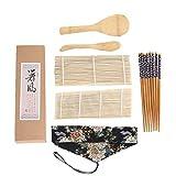 BESTONZON Kit di sushi per preparare Sushi di 7pezzi con tappetino arrotolabile, piatti di nigiri, Cucchiaio di riso, Bastoncini di Bambù, per realizzare tu propio regalo per principianti