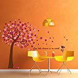 Leegoal Hot Pink Cherry Blossom Tree Wall Decor Removable Decal Sticker