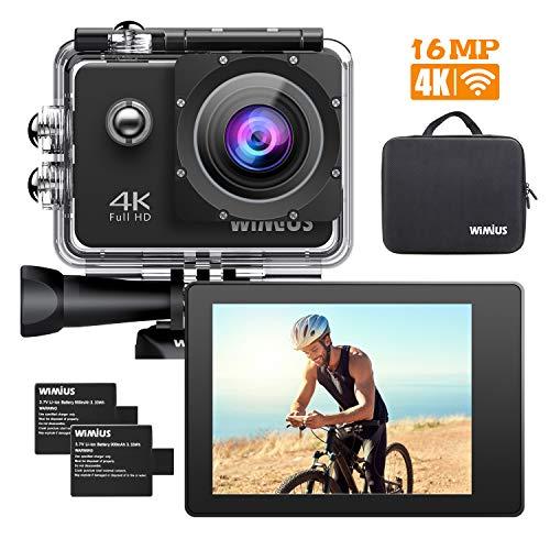 """WiMiUS Q1 Caméra Sport 4k WIFI Ultra HD 16MP Caméra d'Action Sportive Etanche 40M 2"""" LCD Ecran, 170° Grand Angle Kit d'Accessoires avec 2 Batteries et Housse Portable (Noir)"""