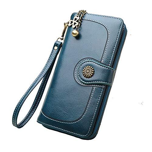 Geldbörse Damen Leder Große Kapazität Geldbeutel Hohe Qualität Brieftasche, mit Viele Fächer und 11 Kartenfächer Lang Portemonnaie, Zipper Haspe Geldbörse. (Malachit Grün) -