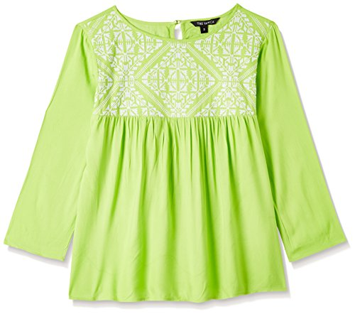 THE VANCA Women's Green Rayon Top with Embroidery