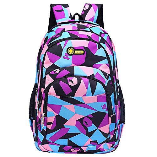 HCFKJ Schultasche, Rucksack Teenager Mädchen Jungen Schulrucksack Camouflage Printing Studenten Taschen (Violett, 32cm*45cm*14cm)