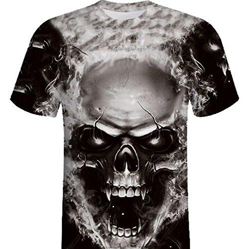 6187e1aa0e2314 OSYARD Hommes T-Shirts Manches Courtes Skull 3D Imprimé Grande Taille Tops  Blouse de Sport