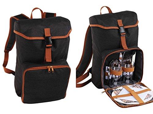 Picknickrucksack 2 Personen Picknicktasche Isoliertasche Kühltasche mit Geschirr (Rucksack mit Kühlfach, Gläser, Besteck und Teller, Picknick, Dunkel Grau)
