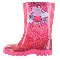 WILLIAM LAMB Peppa Pig Glitter Pink Make A Wish Wellington Boots UK Sizes 4-10