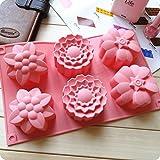 Allforhome 6-er Silikon-Form zum Backen und Basteln, Form 'große Blumen', für Kuchen, Muffins, handgefertigte Seife, Kekse, Schokolade, Eiswürfel