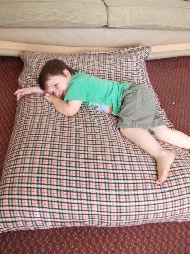 beige check fleece large funky kosikush floor cushion lounger like beanbag bean flame retardent filling