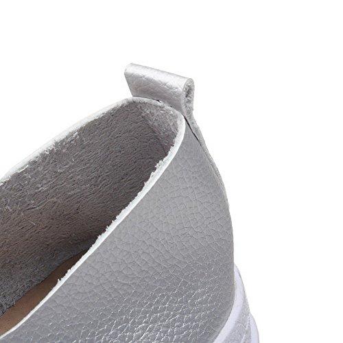 AllhqFashion Damen Niedriger Absatz Weiches Material Rein Schnüren Rund Zehe Pumps Schuhe Silber