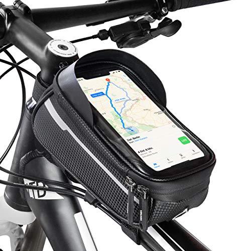 Velmia Rahmentasche Fahrrad [2020er Version] Handyhalterung Mit Touch ID für Smartphones