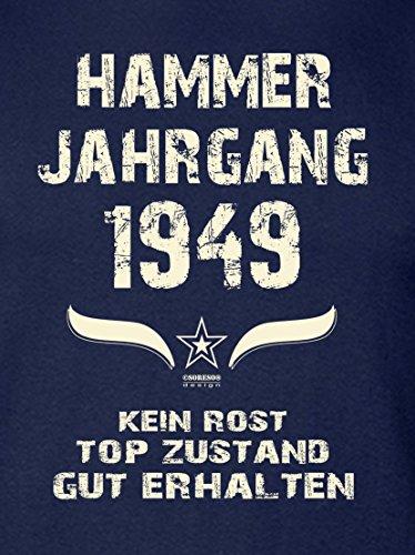 Geschenk Set : Geschenkidee 68. Geburtstag ::: Hammer Jahrgang 1949 ::: Herren T-Shirt & Urkunde Geburtstagskind des Jahres für Ihren Papa Vater Opa Großvater ::: Farbe: schwarz Navy-Blau