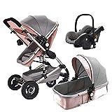 Cochecito Urbano 3 En 1, Diseño Compacto, Sistema Plegable, para Bebes De 0 Meses hasta 4 Años,Pink
