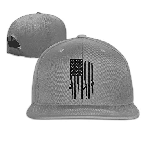 American Gun Flag Unisex Causal Fitted Flat Bill Boarder Cap For Men and Women Ash (Flag American T-shirt Fitted)