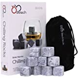 DB-Tech Set of 9 Grey Whisky Chilling Rocks Gift Set With A Muslin Pouch - Chill Your Whiskey with these rocks Without Dilution - Rocks Carved out of 100% Pure Soapstone (japan import)