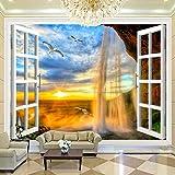 Wandgemälde Benutzerdefinierte 3D Fototapete Sonnenuntergang Wasserfall 3D Stereoskopische Fenster Landschaft Große Wandbilder Tapete Wohnzimmer Moderne Wand-Dekor,60Cm(H)×120Cm(W)