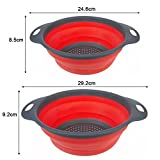 CONMING 2pcs Couvercle de Silicone pliable / panier de fruits de tamis pour la cuisine Usage domestique inclut 2 tailles 9.7 et 11.5 pouces (rouge)