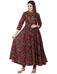 GULMOHAR JAIPUR Women's Cotton Printed Anarkali Kurta