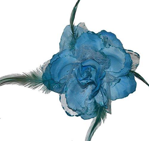 Haarschmuck mit Federn Haarblume Ansteckblume Ansteckblüte Glitzer Hochzeit Karneval (Türkis)
