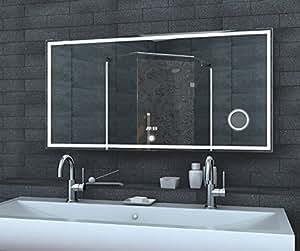 fineline badezimmer spiegel led beleuchtung 240 led und 50 led f r kosmetik spiegel aluminium. Black Bedroom Furniture Sets. Home Design Ideas