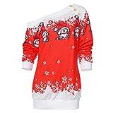 CharMma Damen Weihnachten Pullover Langarmshirt Santa Claus und Schnee Druck Sweatshirt (Rot 2, S) (Textilien)
