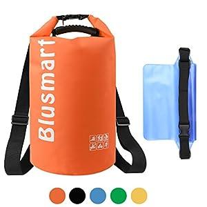 Blusmart 10L / 20L wasserdichte trockene Beutel + wasserdichtes Taillen-Beutel, vervollkommnen für Kayaking / Bootfahrt / Kanu / Fischen / Rafting / Schwimmen / Kampieren / Snowboarding(20L orange)
