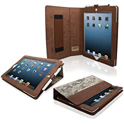 Snugg - Funda/ Smart Case de cuero para iPad 3 y iPad 4 con soporte plegable, correa elastica, lazo para lapiz digital stylus, interior fibra Nubuck, Camuflaje