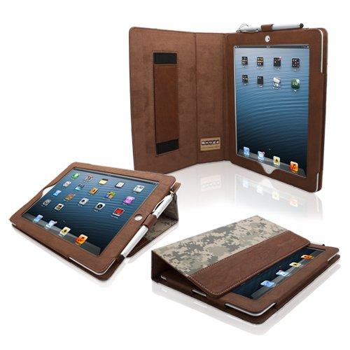 Custodia Snugg In Pelle Effetto Digitale Per iPad 3 e 4 Con Supporto Flip-Stand, Cinturino Elastico Per Il Polso e Rivestimento Interno Di Qualita In Nabuk - Capacita Automatica Di Riattivare o Mettere In Modalita A Riposo Il Vostro Apple iPad 3 e 4.