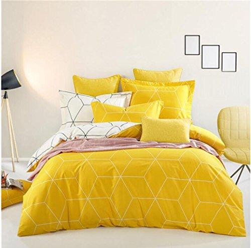 Mode Bettwäsche, Bettwäsche Bettwäsche vier Sätze von Herren einfach Bettwäsche, Baumwolle-Kit (Creme Herren Leinen-look)