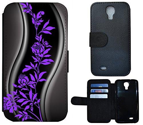 Schutz Hülle Flip Cover Handy Tasche Etui Case für (Apple iPhone 5 / 5s, 1232 Herz Abstract Lila) 1230 Abstract Schwarz Grau Lila