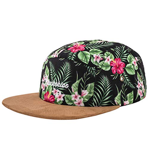 Blackskies Oahu 5-Panel Cap Damen Herren Baseball Mütze Kappe Blumen Floral Suede Grün - Blume-panel