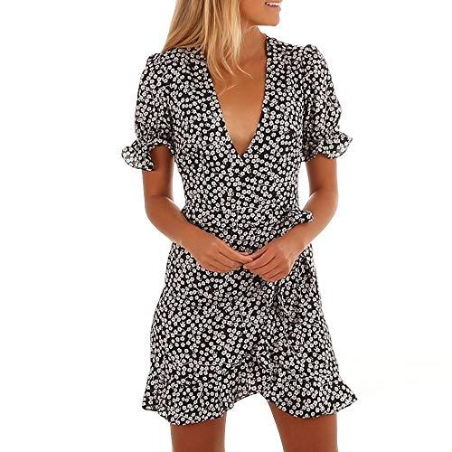 Go First Damen Einfache Vielseitige Taille Kleid V-Ausschnitt Sexy Floral Kurzarm Kleid Sommer Unregelmäßigen Rüschenkleid (Color : A Black, Size : Medium) Casual Home Stretch Ribbed