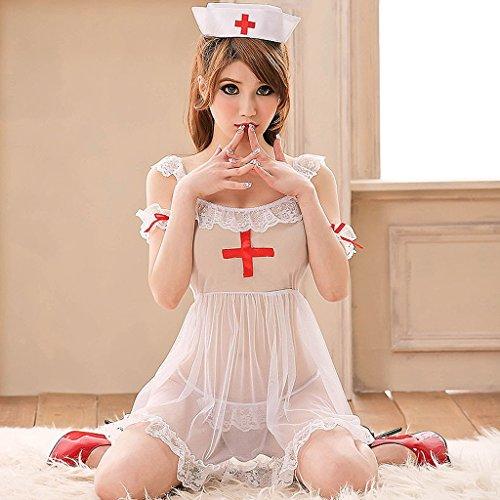 Sexy Unique Krankenschwester Uniform Set Role Play White Angel Temptation Unterwäsche Sweet White (Sweet Mädchen Kostüme Angel)